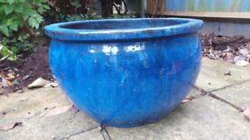 Large ceramic glazed plant pots