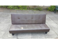 Click Clack 3 Seeter SofaBed Brown Leather for Sale £50 ovno Very Good condition