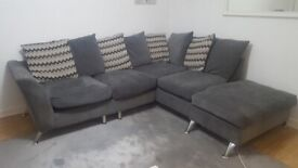 Grey corner sofa with footstool, good condition