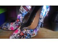 Ladies print heels size 3 new