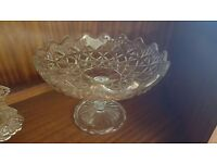 Diamond-patterned Glass Cake Stand in Good Condition