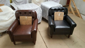 SUMMER Sale Faux Leather Downtown Armchair, club Chair for Dining Living Room & Cafe £110