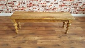 Rustic Farmhouse Kitchen Dining Bench Fruitwood with Turned Legs - New - Free Delivery