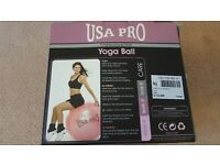 Gym Ball / Exercise Swiss Ball 65cms USA Pro Pink for Yoga Pilates etc