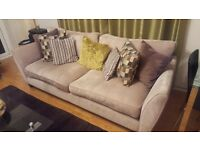 4 SEATER CREAM FABRIC SOFA WITH CUSHIONS