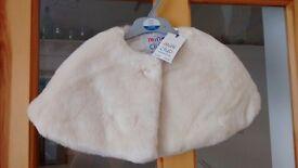 2x Cream Faux Fur Capes