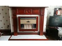 Fire surround back panel and hearth