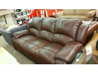 Brown leather recliner suite