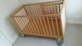 Baby / child cot / bed with wheels