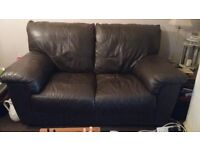 2 Faux leather sofas, 2 seater and 3 seater in dark brown