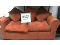 Sofa 2 seater upholstered in rust fabric - British Heart Foundation