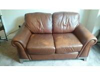 C S L Two Seater Brown Leather Sofa