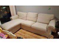 great condition 3 seater L shape sofa dark beige - IKEA EKTORP RRP 525