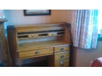 Pine Writer's Roll-Top Bureau /Desk