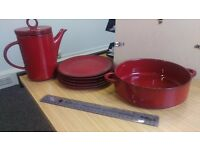 Red Ceramic Teapot, Bowl and 5 plates