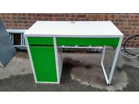 Nice looking, sturdy, Ikea office desk - green and white with draws and shelf space