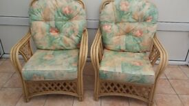 2 wicker chairs, full size, suit conservatory or the like