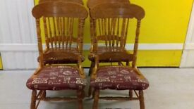 4 dining chairs,solid oak,carved back,high back,cushion acceptab,stable,no table