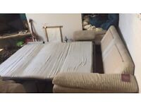 Nice big sofa bed. All works cord material . Soft and comfy