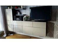 IKEA BESTA TV UNIT with Beige Glossy doors and 2 floating shelves