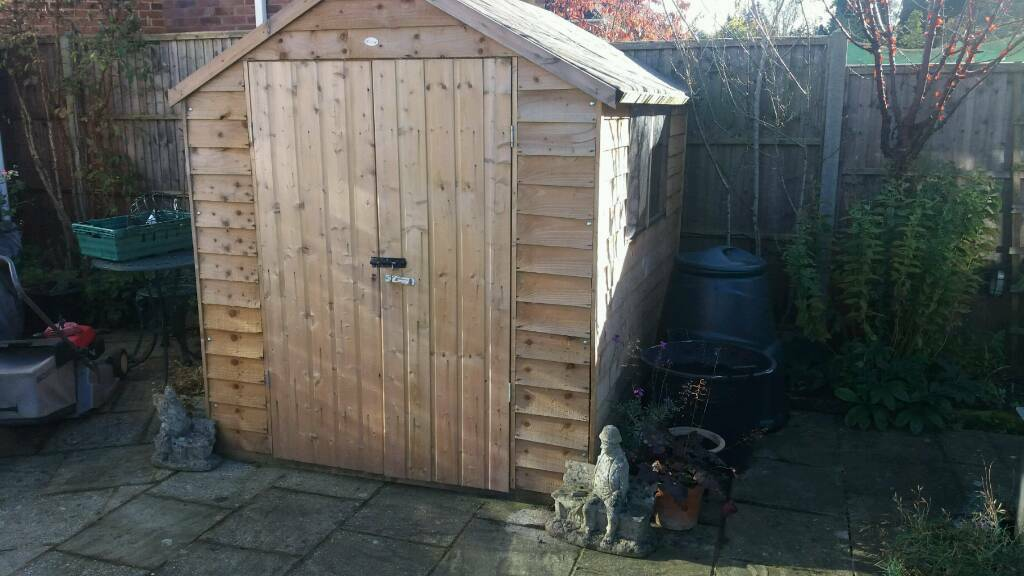 Wooden shed.