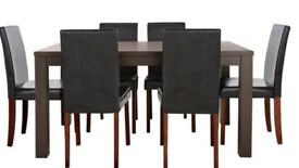 Dinning table with chairs wooden with faux leather chairs in excellent condition Bargin £65