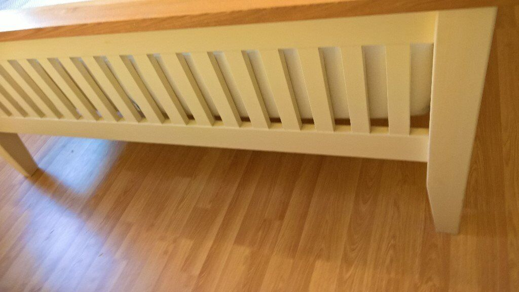 King size oak bed frame - dove and ivory colour