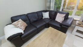 Chocolate brown corner leather sofa