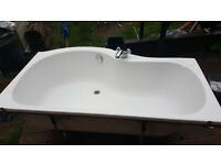 Corner Shower Bath - 1500mm with front panel + glass Screen (RH) tap and waste - £160 for lot