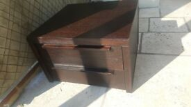 Solid dark wood bedside table/ tv unit with 2 drawers, heavy very good quality