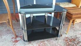 Black Glass & Chrome 3 Tier Tv Unit
