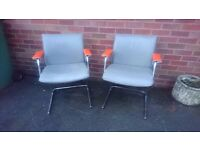 TWO VINTAGE MID CENTURY DESIGN 60S CHROME ALL LEATHER PIEFF CHAIRS ORANGE LEATHER ARMS FAB DECOR GC