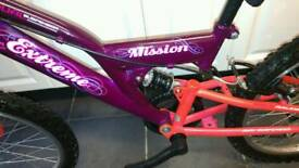 Girls Extreme By Raleigh Mission 20 Inch Full Suspension Mountain Bike Ages 7 - 10