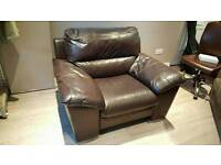Contemporary Chocolate Brown Soft Real Leather Comfortable Modern Armchair In Excellent Condition