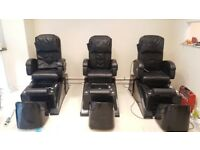 2x spa pedicure chairs, massage, led whirl pool, reclining function, with technican stool