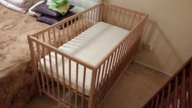 Cot bed with mattress Pine, Nearly New, Ikea Brand
