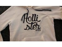 Ladies Hollister White Hoodie-Size Small