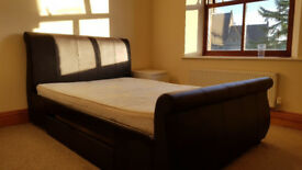 Immaculate Double Sleigh Bed for sale INCLUDES MATTRESS.