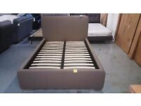 NEW John Lewis Owen Double Taupe Faux Leather Bed Frame CAN DELIVER Collect Kirkby NG17