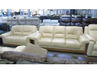 3 seater 2seater cream leather with wood surround