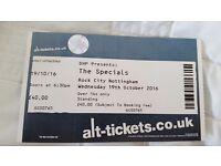 The Specials concert ticket at Rock City, Nottingham