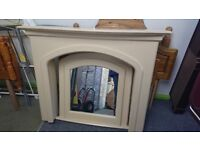 Cream Fire surround with lighting and large mirror