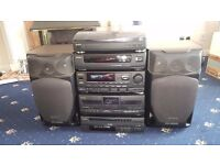 Aiwa black large hi fi separates system cd, record, radio, tape, speakers