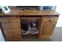 Solid pine office desk in excellent condition