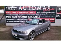 2005 BMW 320 CD SPORT 2.0L CONVERTIBLE GREY FEB 2018 MOT 97K WITH F/S/H HEATED LEATHER ALLOYS CD +