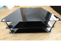 Black Gloss Glass TV Stand Cabinet Cable Management