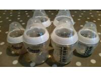 6 x Tommee tippee baby feeding bottles
