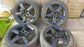 "Audi A4 5 spoke 17"" alloy wheels - 225/45 - 5 x 112 - great tyres - £160"