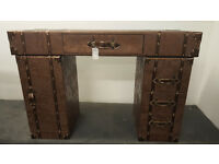 Wooden Writing Desk Brown Suitcase style