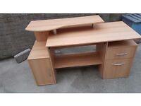 Large wooden computer desk